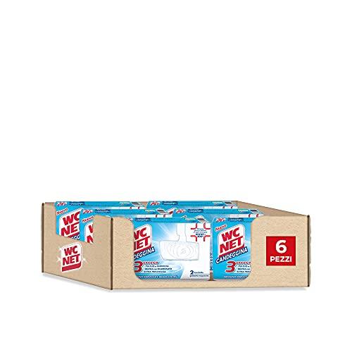 Wc Net - Tableta blanqueadora de 3 efectos, detergente desinfectante sólido para inodoro, acción limpiadora y blanqueante, 2 unidades x 6 paquetes