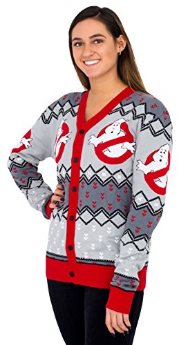 Mighty Fine Ghostbusters Logo Ugly Christmas Cardigan Sweater (Adult Small) Gray