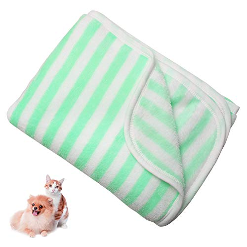 TONY HOBY Dog Bath Towel for Dog Bathrobe, Super Adorbent Micofiber Dry Towel, Beach Towel, Suitable for Small and Medium Size Dog (Green& White)