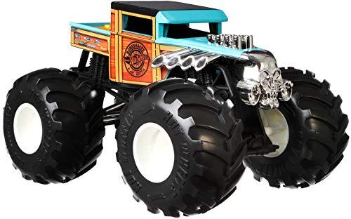 Hot Wheels GWL05 - Monster Trucks 1:24 Die-Cast Spielzeugauto Bone Shaker, blau, Spielzeug ab 3 Jahren