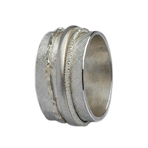 Tiljon Breiter matter Ring 925er Silber mit drehbaren Ringschienen RingSize 50 (15.9)