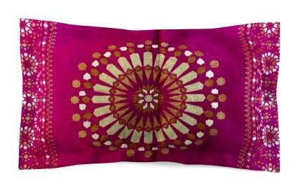 Funda de cojín de estilo marroquí con patrón geométrico de seda jacquard de 70 x 50 cm, seda sintética, Rosa y dorado., 70 x 50 cm