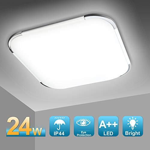 Hengda 24W LED Deckenleuchte, Badleuchte, Küchenleuchte, 2160LM Deckenlampe, Flimmerfrei und Blendfrei, ersetzt 150W Glühlampe, 6500K Kaltweiße