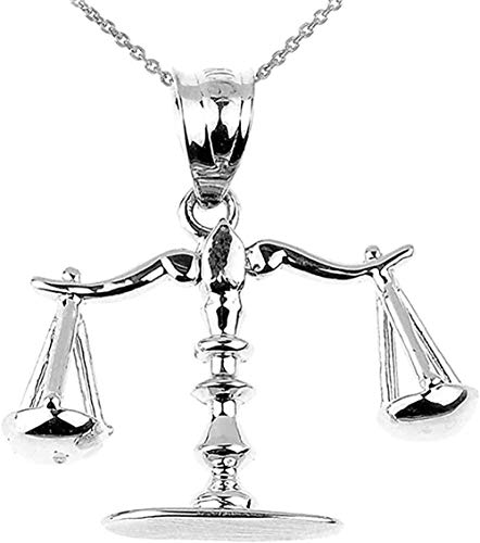NC96 Fine Sterling Silver 3D Scales of Justice Charm Pendant Necklace