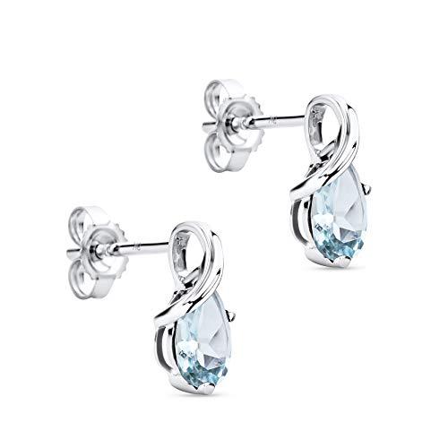 Orovi Schmuck Damen tropfen Ohrringe mit Edelstein/Geburtsstein Aquamarin in blau Ohrhänger aus Weißgold 9 Karat / 375 Gold