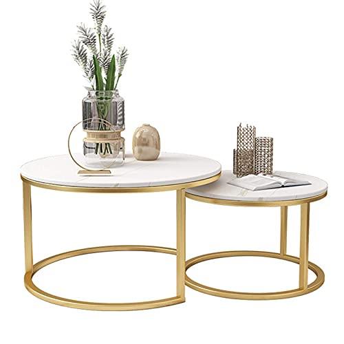 Tavolini Rotondi Set di 2, Tavolini Ad Incastro Piccoli Tavolini da caffè Tavolino L: 80 Diametro X 45 (H) Cm S: 60 Diametro X 40 (H) Cm Piano da Tavolo in Marmo Bianco Casa
