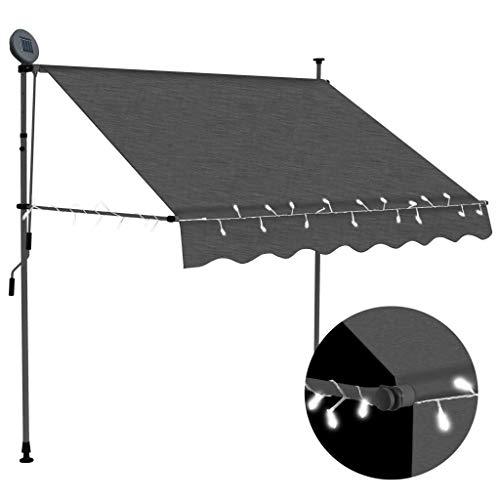 GOTOTOP Toldo retráctil con Solar LED para Ventanas 150 x 120cm, Altura Ajustable 2-3 M, Toldos Impermeables Protección Solar con manivela para Balcón y Terraza, Gris Antracita