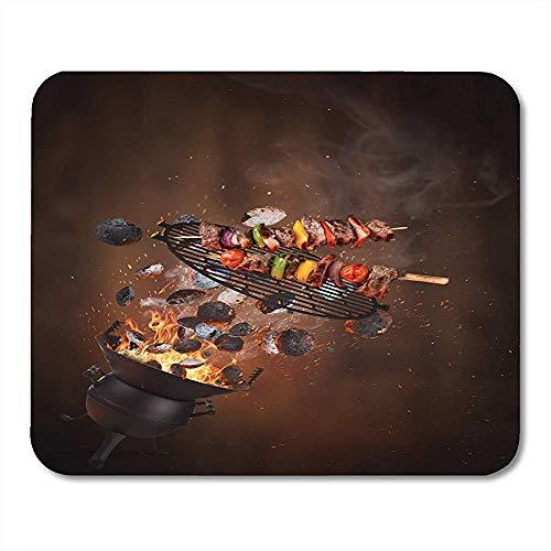 Mauspad Kettle Grill Hot Briketts Gusseisen Rost Und Leckere Notebooks Mauspad Desktop-Computer Mauspads Bürobedarf 25X30Cm