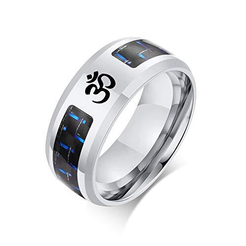 Hisatan Buddha Namaste Ohm Om Aum Sanskrit Symbol Medallion Wedding Band Stainless Steel Carbon Fiber Inlay Ring for Men,Hindu Yoga Jewelry