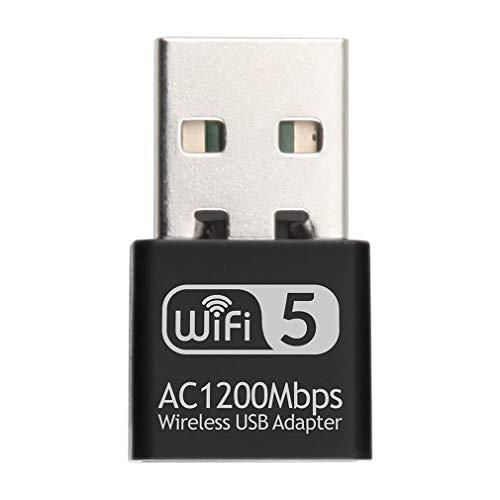 USB Dual Band Trådlöst nätverkskort 1200 Mbps 2,4 GHz 5,8 GHz Wifi nätadapter svart