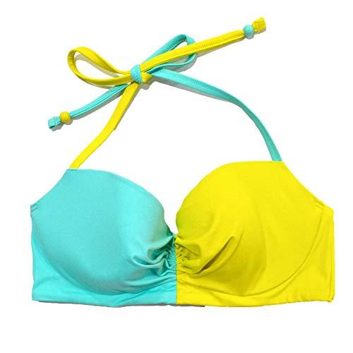 Victoria's Secret Swim Top Colorblock Getaway Halter (36C, Green Yellow)