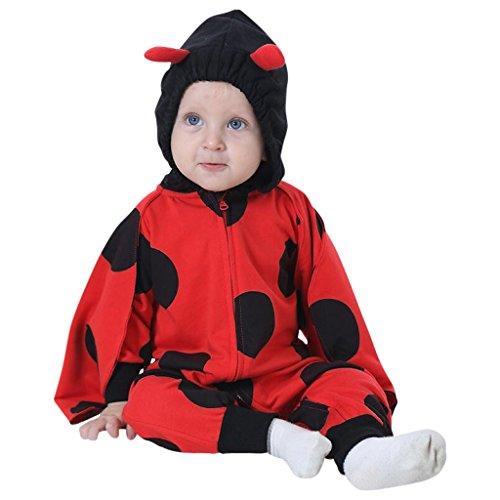 Katara 1778 Costume Coccinella Neonati Bambini Tuta Kigurumi Animale Pigiama Intero con Cappuccio Bambino 0-6 Mesi