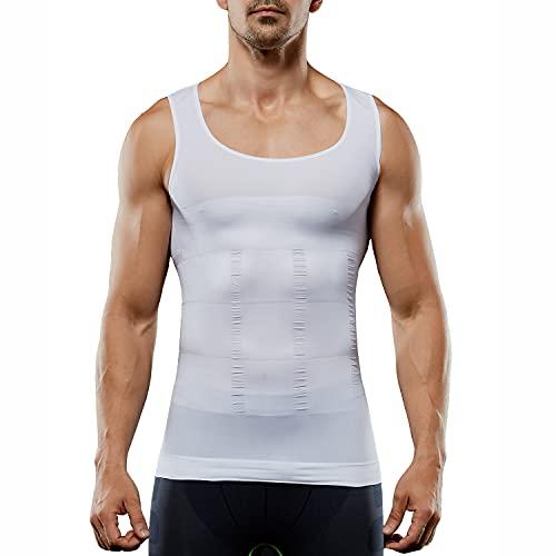 Men's Compression Shirt Sleeveless Slimming Vest Tummy Tank Top Body Shaper Abs Abdomen Shaperwear Seamless (White, L)