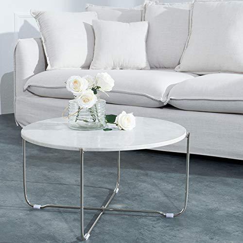 cagü: Design Couchtisch [FLORENTIN] Weiß Marmor mit Silber Gestell 62cm Durchmesser
