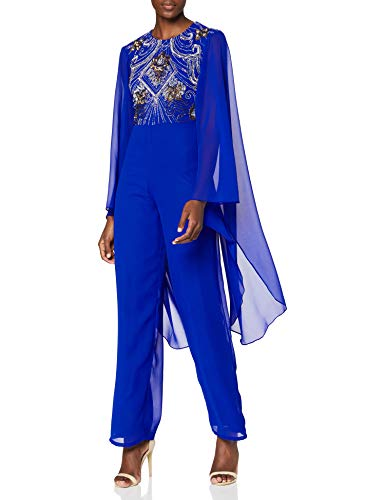 Frock and Frill Embellished Long Sleeve Jumpsuit with Kimono Cape Vestido de cctel, Azul Cobalto, 36 para Mujer