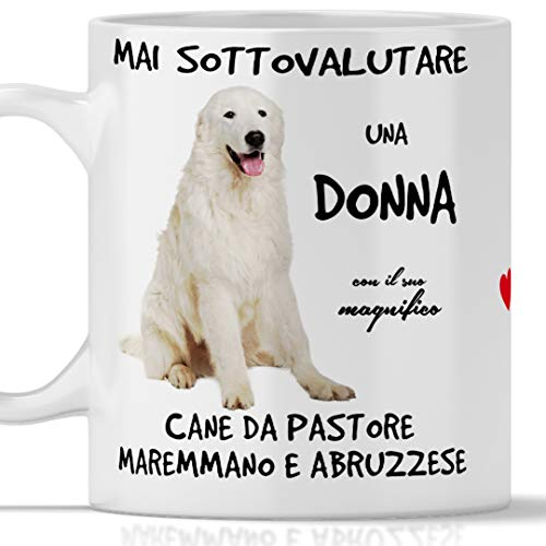 Taza pastor maremmano para desayuno, té, tisana, café, capuchino. Gadget taza nunca subestimar una mujer con un perro pastor maremmano. Idea regalo original