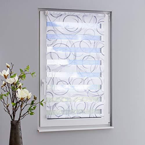 DECOLIA Klemmfix-Duorollo/Doppelrollo Swing Bedruckt mit verstellbaren Klemmträgern, Breite/Höhe: 70 x 150 cm, Farbe: grau