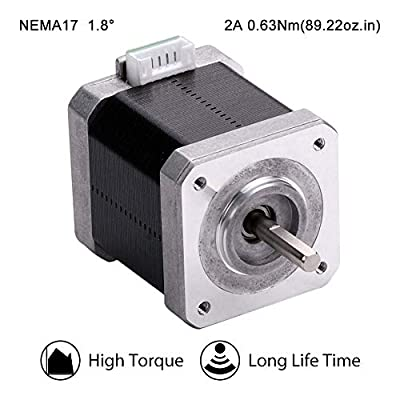 MOONS' NEMA17 CNC Stepper Motor 3D Printer 0.63Nm(89oz-in) 2A 2Phase 1.8 Degree Bipolar DC Stepping Motor 48.3mm(1.9in.) 2Stack Smooth Silent Creality Extruder Prusa Step Motor (Model MS17HD6P4200)