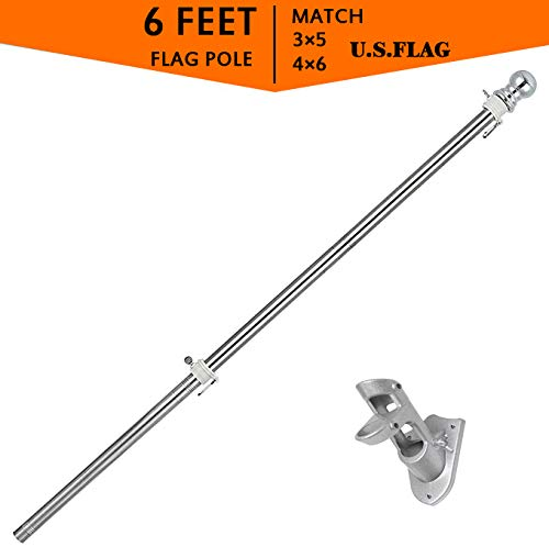 5FT Flag Pole for American Flag with Bracket,Heavy Duty Stainless Steel Outdoor Wall Mounted Flagpole,Residential or Commercial Tangle-Free Spinning Flag Pole (5, Silver)