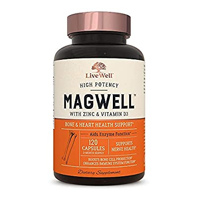 Magnesium Zinc & Vitamin D3 - Most Bioavailable Forms of Magnesium - Malate, Glycinate, Citrate - MagWell by LiveWell   Bone & Heart Health, Immune System Support - 120 Capsules