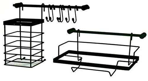 Metlex Küchenreling mit 2 Stangen 2 x 27 cm lang, mit vielen Küchenhelfern: Küchenhandtuchhalter, Gewürzregale, 6 x Haken, schwarz