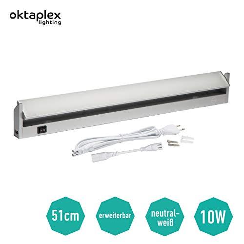 Oktaplex lighting LED Unterbauleuchte Schwenkbare Lampe Rota 60cm I Praktische Küchen-Beleuchtung 10W 800lm LED Lichtleiste mit Schalter Aluminium Unterschrank-Beleuchtung Küche Neutralweiß 4000K
