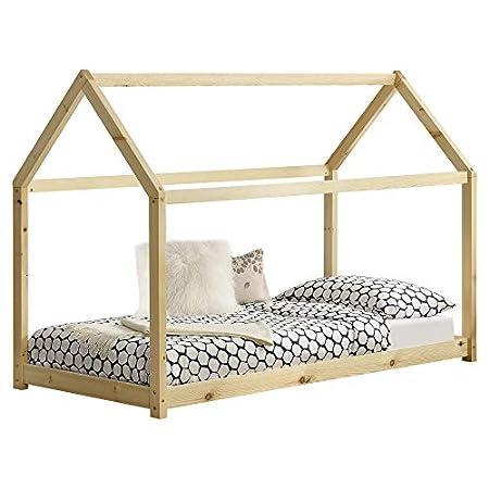 [en.casa] Hausbett aus Kiefernholz 90x200cm
