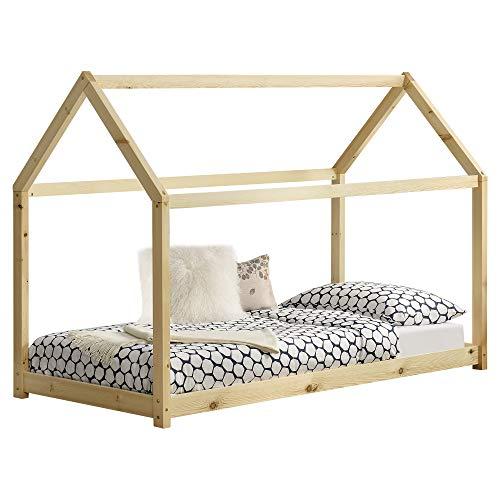 [en.casa] Kinderbett 90x200cm Haus Holz Natur Bettenhaus Hausbett Kinderzimmer Bett Kinder Kiefernholz Holzfarben