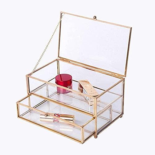 TYUIOO Caja de joyería vintage de vidrio - joyería geométrica de oro Organizador de exhibición de la caja de la caja del recuerdo de la caja de la caja de la caja decorativa para el almacenamiento Tin