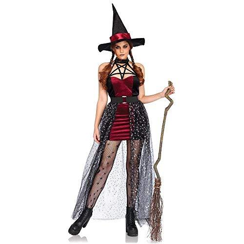 Fashion-Cos1 Mujeres Negro Rojo Divertido Travieso Mágico Momento Malvado Elfo Bruja Vestido Bruja Sexy Fiesta de Halloween Club Juego de rol Disfraces