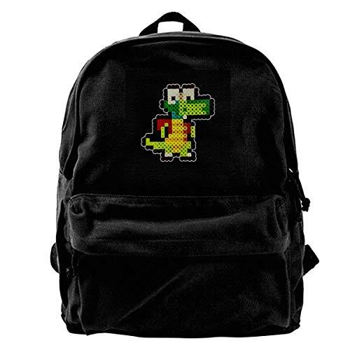 DJNGN Canvas Backpack Croc 8bit Pixel Character Bead Rucksack Gym Hiking Laptop Shoulder Bag Daypack for Men Women