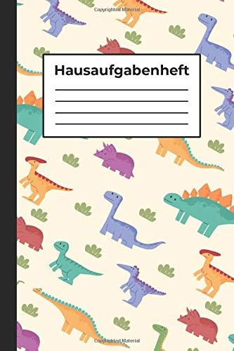 Hausaufgabenheft: Dino Muster, Für Jungen und Mädchen, Schulkind, A5, 48 Schulwochen