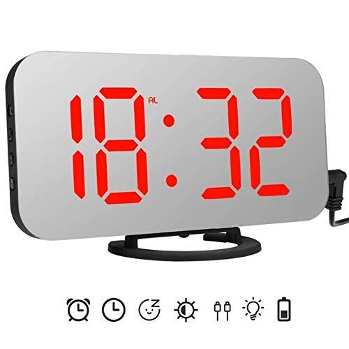 ZJZ Spiegel led-wekker, snooze digitale klok slaapkamer dimmer wake-up light met dubbele USB-oplaadpoort, time-geheugenfunctie