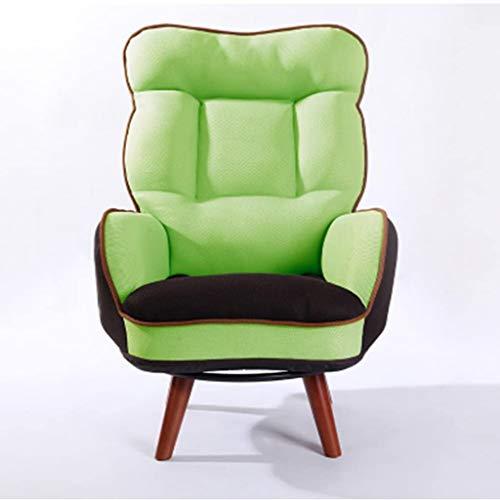 JJZXD Estilo japonés Respaldo Alto sillón Individual, Tela Plegable sofá Perezoso, Material de Ayuda del Cuello del Cuero de la PU, Transpirable, cómodo y Fuerte (Color : Green)