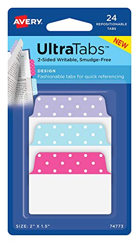 Avery Multiuse Design Ultra Tabs, 2' x 1.5', 2-Side Writable, Pastel Dots, 24 Repositionable Tabs (74773)