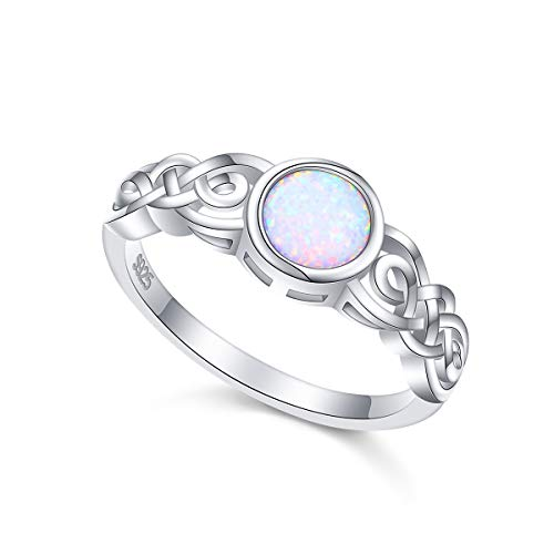FLYOW 925 Sterling Silver BFF Celtic Knot Irish Friendship Couples Promise Bezel Created Opal Wedding Band Ring for Women