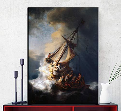 DPFRY Lienzo Cuadros Embellecer Rembrandt Barco Lienzo Pintura Al Óleo HD Mural Impresiones Imágenes Sala De Estar Decoración Moderna para El Hogar Cartel Mm69A 40X60Cm Sin Marco