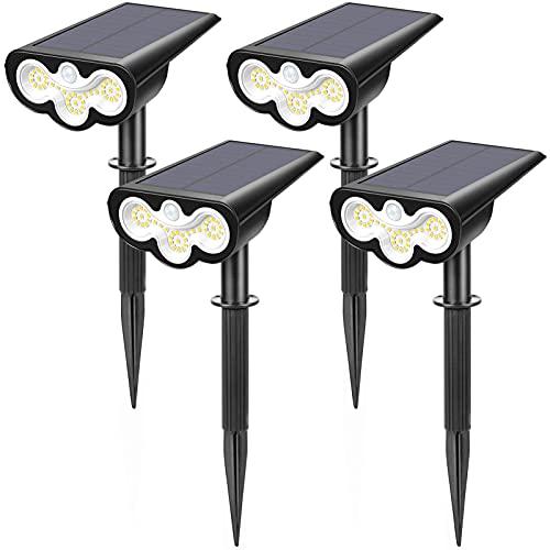 LITAKE Solarstrahler Außen, 39 LED Solar Gartenleuchte mit Bewegungsmelder 2 Beleuchtungsmodi Verstellbare Solarleuchte Garten IP65 Wasserdicht Außen Solarlampen für Garten Eingangstür Garage, 4 Stk
