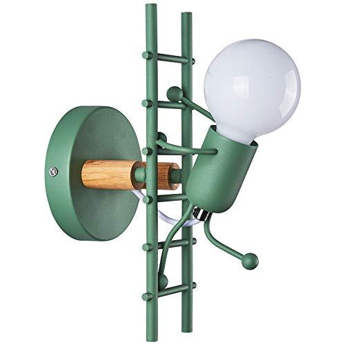KKING Lámparas De Pared Y Apliques, Estilo Industrial LED Retro, Lámpara De Pared para Escalar Escaleras Artesanales De Hierro E27, Adecuada para Habitación De Niños, Dormitorio,Verde