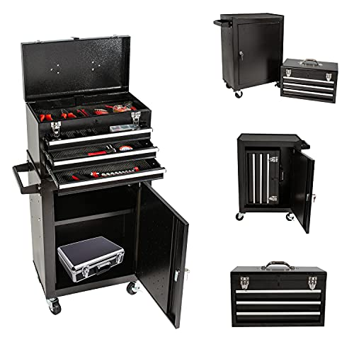 3-Drawer High Capacity Tool Chest Rolling Tool Box with 4 Wheels and 2 Lockable, Detachable 3 Drawer Tool Box with Adjustable Shelf, Portable Tool Boxes for Garage Warehouse and Repair Shop (Black)