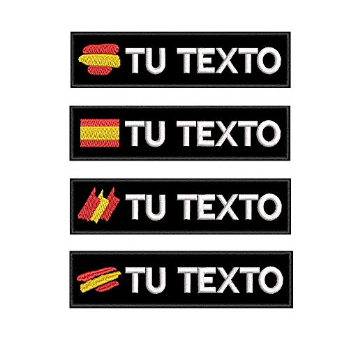 Parche de nombre personalizado, etiquetas bordadas con la bandera española personalizada, parche...