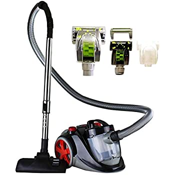 Ovente Bagless Canister Cyclonic Vacuum with HEPA Filter, Comes with Pet/Sofa Brush, Telescopic Wand, Combination Bristle Brush/Crevice Nozzle and Retractable Cord, Featherlite, Corded (ST2010)