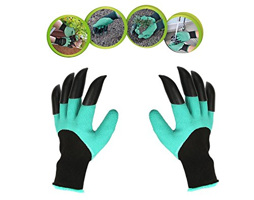 ASHLY Garden Gloves With Claws, Great for Digging Weeding Seeding poking -Safe for Rose Pruning -Best Gardening Tool -Best Gift for Gardeners (Double Claw)