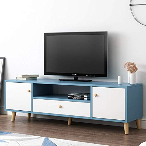 Rek TV-consoletafel TV-standaard Entertainment Center TV-standaard met Dawers-tafel Media-consoletafel salontafel Studio Collection TV-mediastandaard mediameubel speelconsole-bijzettafel 120 x 30 x 45 cm, blauw + wit
