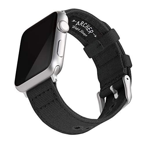 Archer Watch Straps | Correas Reloj Lona para Apple Watch | para Hombre y Mujer (Negro, Plata, 38/40mm)
