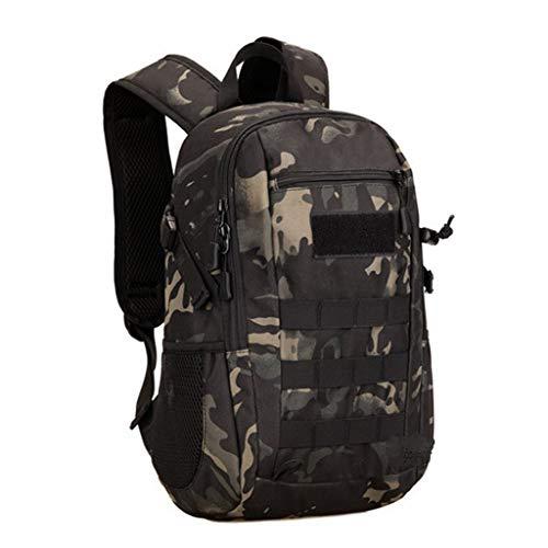 Huntvp 12L Mochila de Asalto Militar Táctical Molle Bolsa Bandolera para Senderismo Caza Camping - Color Negro Camuflaje