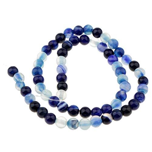 yotijar Perlas de piedra preciosa a rayas de ágata natural azul oscuro preciosas, sin acabar, paquete de 4 mm-10 mm Azul Oscuro 6mm