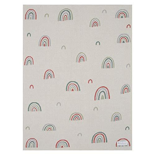 Kindsgut Kinderdecke, weiche Baby-Decke aus Baumwolle in 80cm x 100 cm, ideal für unterwegs im Kinderwagen oder zum kuscheln, dezente Farben und schlichtes Design, Regenbogen