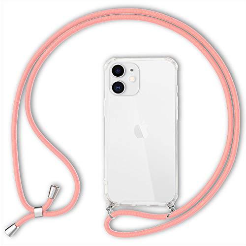 NALIA Carcasa con Cuerda Compatible con iPhone 12 / iPhone 12 Pro Funda, Transparente Hardcase & Correa Colgante para Colgar, Protectora Case & Cordon para Llevar en Cuello, Color:Pink Rosa