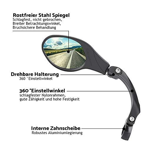 Dilwe Fahrrad Rückspiegel für Lenker, Edelstahl Fahrradspiegel, verstellbar, 360° Drehungsüberprüfung, Rückspiegel für 22,2 mm Rennrad Mountainbike, Links, rechts - 3